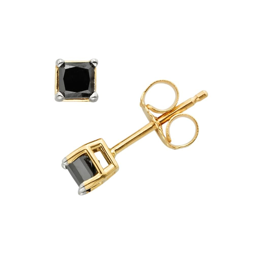 10k Gold 1 2 Ct T W Princess Cut Black Diamond Stud Earrings