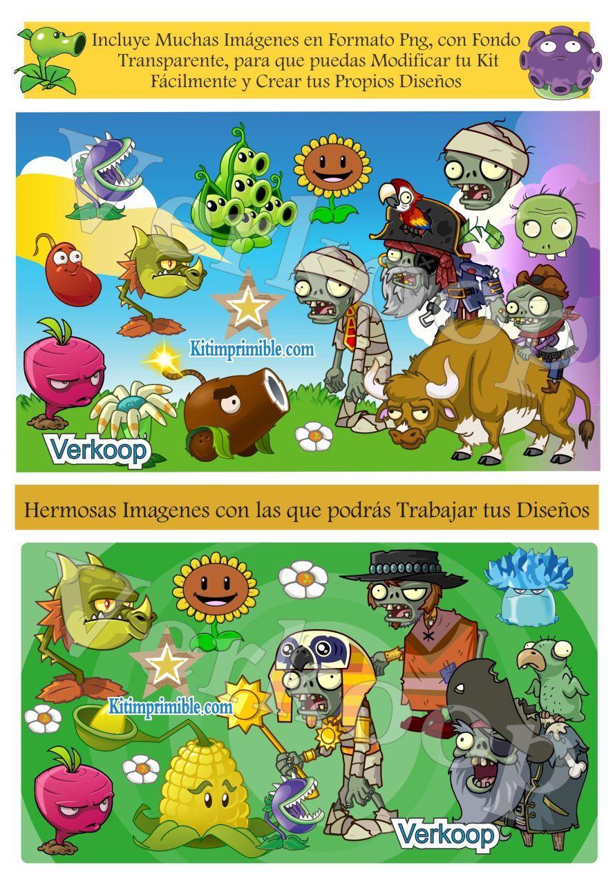 Kit Imprimible Plantas Vs Zombies Todo Para Tu Fiesta Realiza Invitaciones Tarjetas Souvenirs Wrappers Etiq Kit Imprimible Plantas Vs Zombies Imprimible