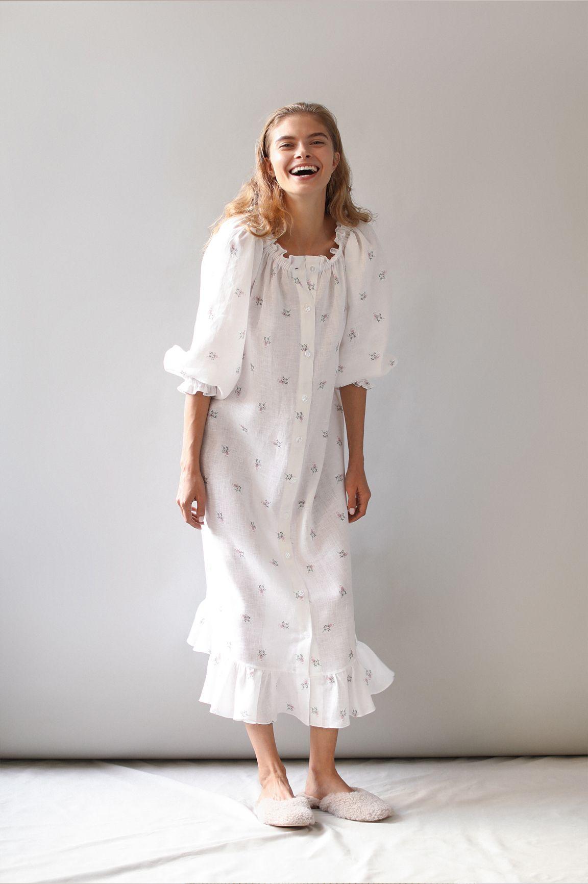 Flower Loungewear Dress Sleeper Girls Night Dress Summer Linen Dresses Classy Loungewear [ 1732 x 1152 Pixel ]