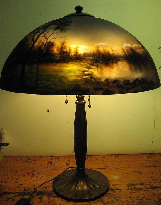 Reverse Painted Lamp Painting Lamps Diy Lamp Shade Rustic Lamp Shades