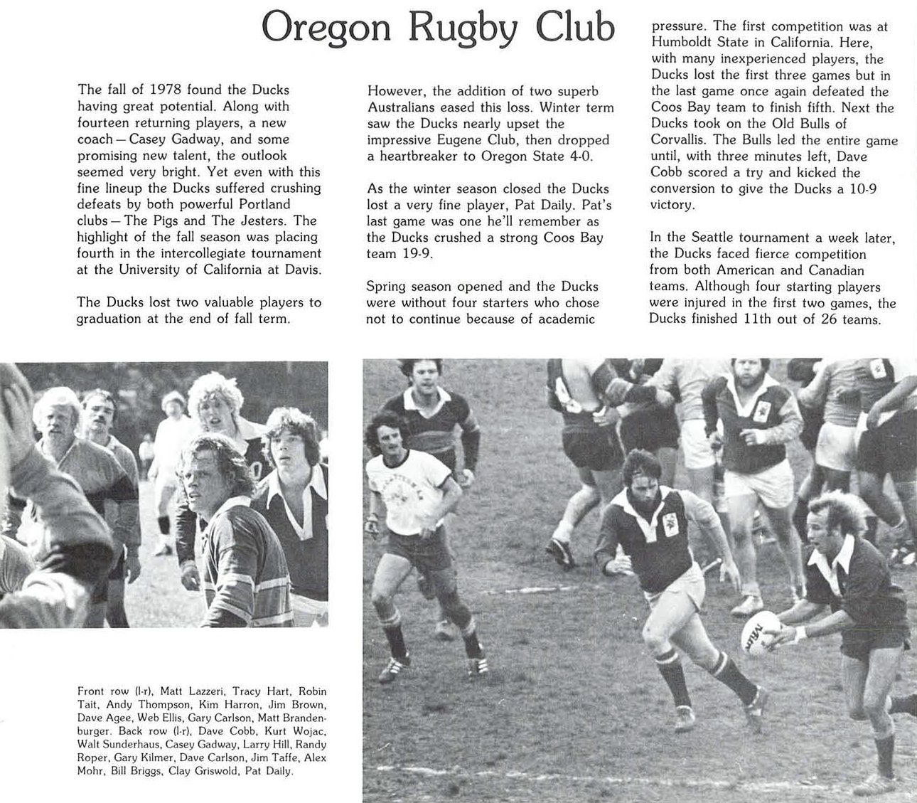 Oregon Rugby 1978 79 From The 1979 Oregana University Of