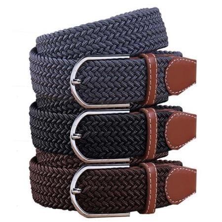 BMC Mens Wear 3pc Stretchy Woven Adjustable Belt Set - Bussiness Essentials