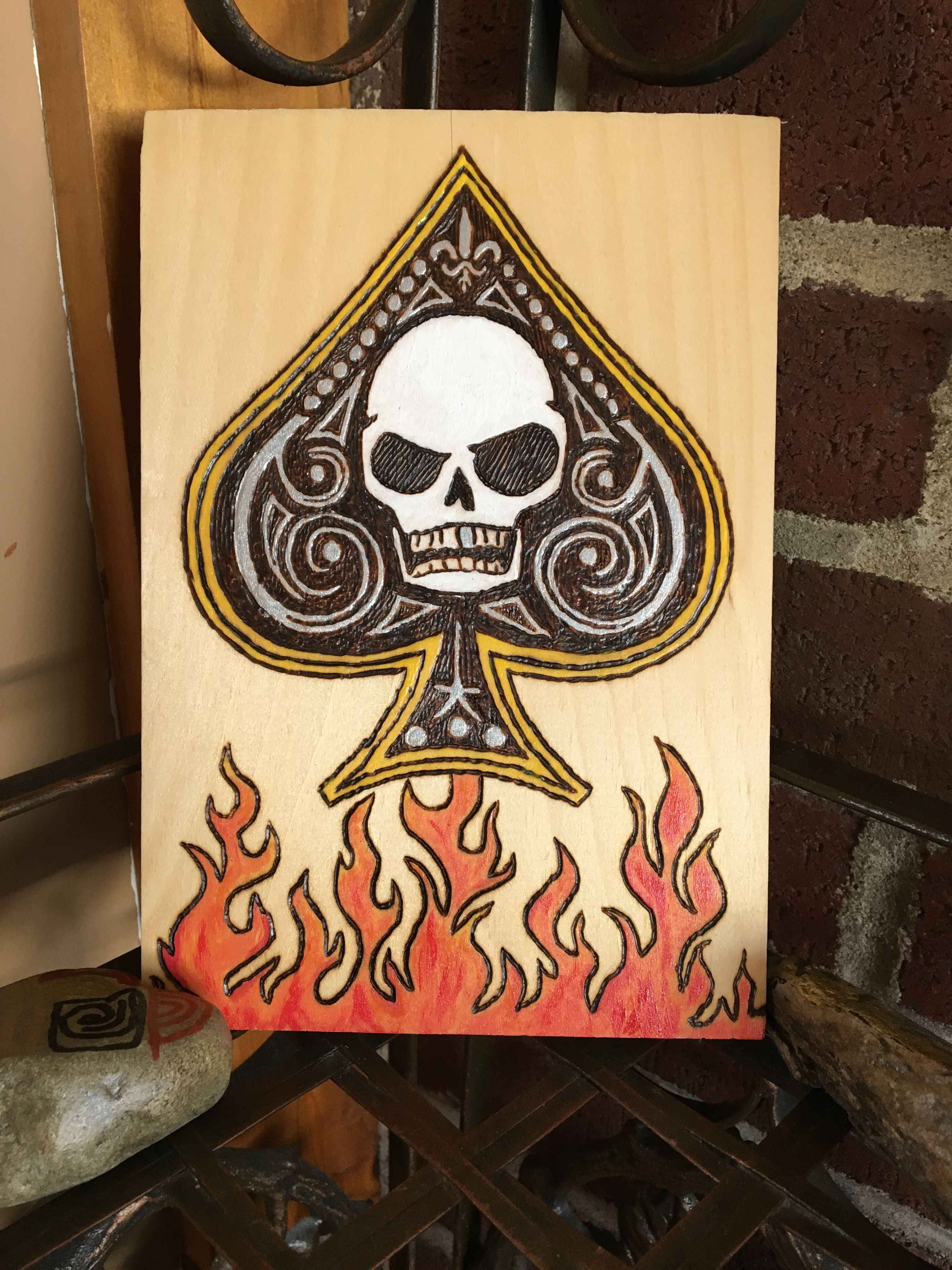 Wood burn flames and ace of spades with skull skulls wood burn flames and ace of spades with skull reviewsmspy