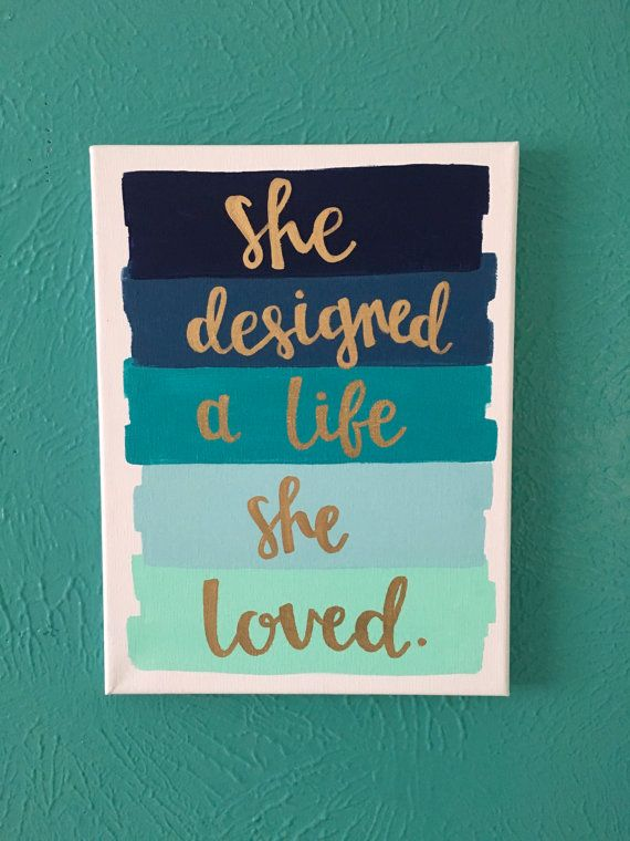 Canvas Quote 9x12 She Designed A Life Loved By AmourDeArt