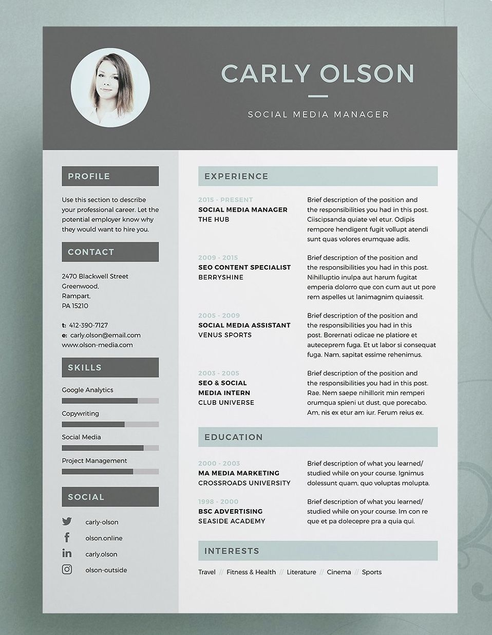 Resume Cv Carly Resume Design Free Resume Design Resume Design Creative