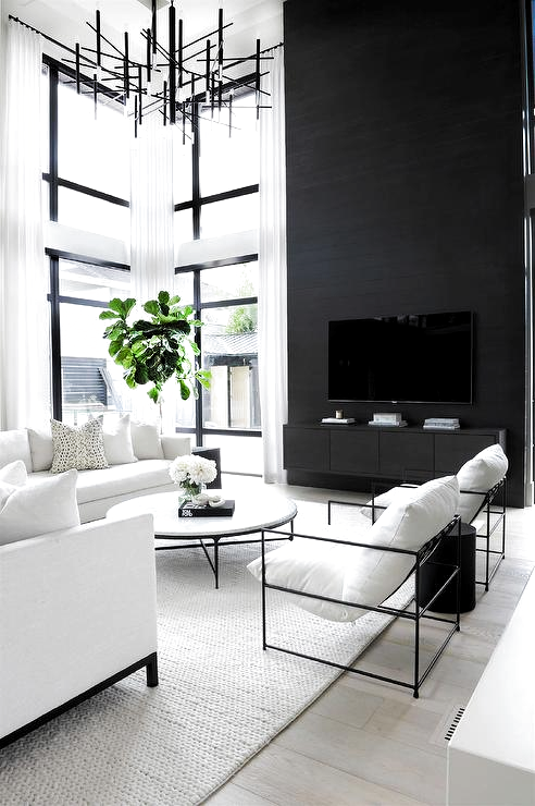 Pin By Ernesto On Living Space Modern White Living Room Black Living Room High Ceiling Living Room