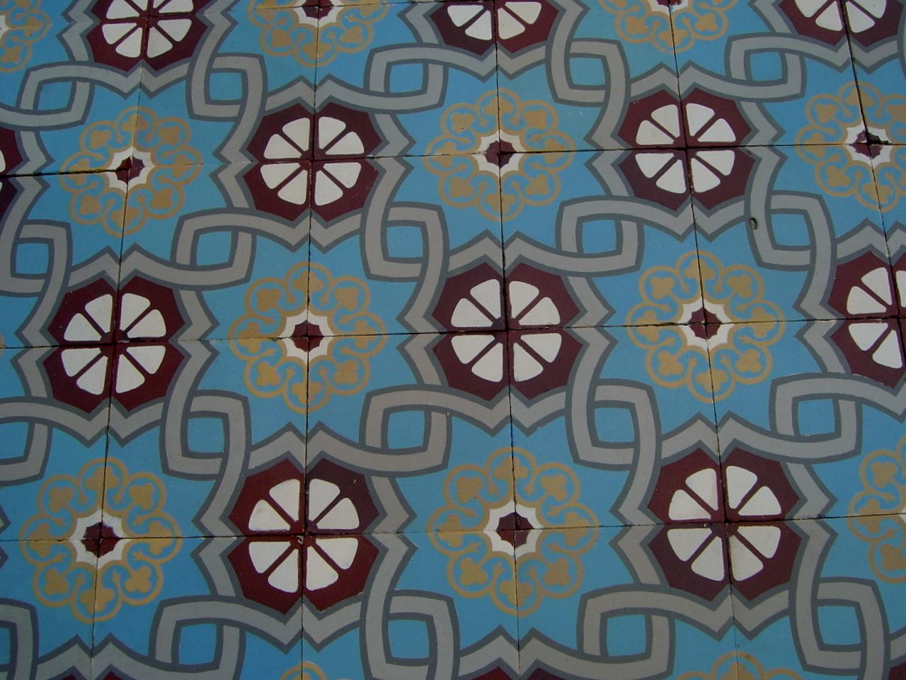 12.5m2 - Blue and Burgundy antique French ceramic floor c.1930 - The ...