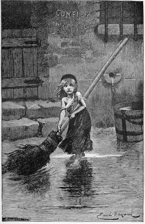 Young Cosette sweeping: 1886 engraving for Victor Hugo's Les Miserables. French illustrator Émile Bayard drew the sketch of Cosette for the first edition, and this engraving was prepared for an 1886 edition. The image has become emblematic of the entire story, being used in promotional art for various versions of the musical.