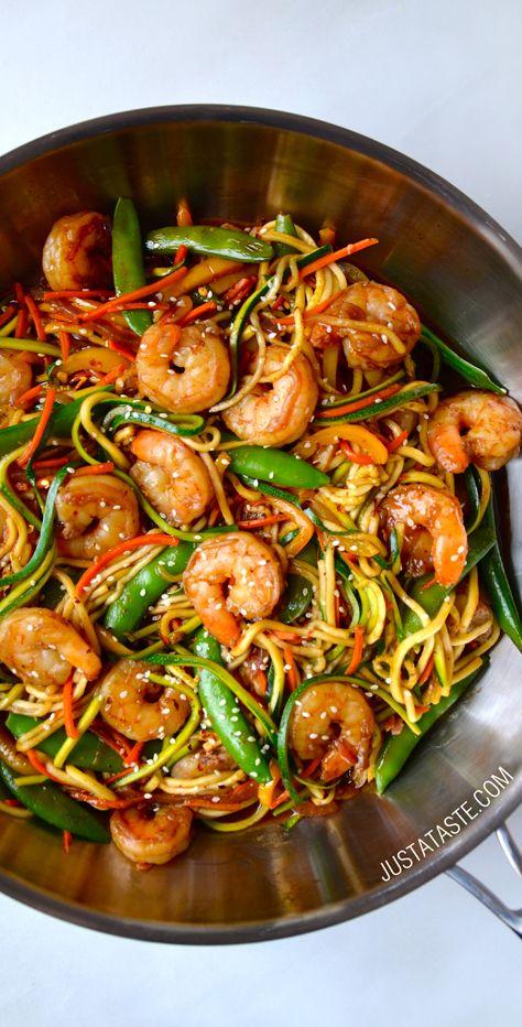 Asian Zucchini Noodle Stir-Fry with Shrimp #recipe on justataste.com