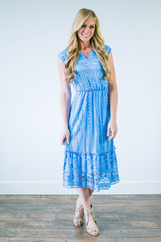 Brooks Lace Dress In Sea Blue Clothes Dresses Lace