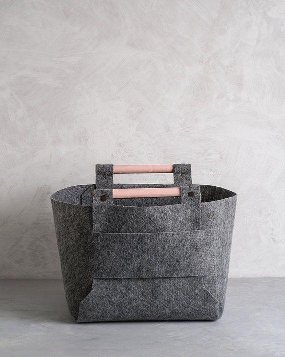 Large Felt Storage Bin With Peach Wood Handles, Felt Basket, Storage Basket  By Loop
