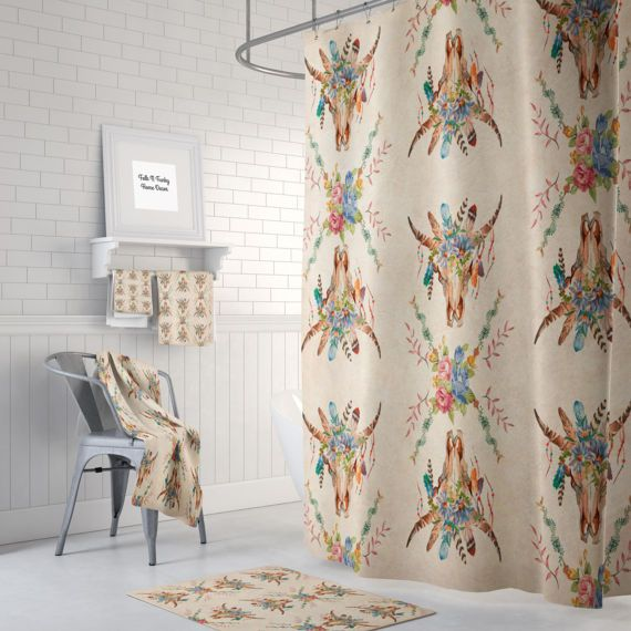 Boho Chic Shower Curtain Bath Towels Bath Mat Southwest Bull