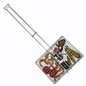 Our most accommodating model, everything stays in this 2-1/2″ deep adjustable basket. Deep enough for chicken and steaks, yet the adjustable depth also holds hot dogs and hamburgers. Extremely heavy-duty chrome wire basket is 9-1/2″ x 12″, with an overall length of 29. 9-1/2″ x 13″...