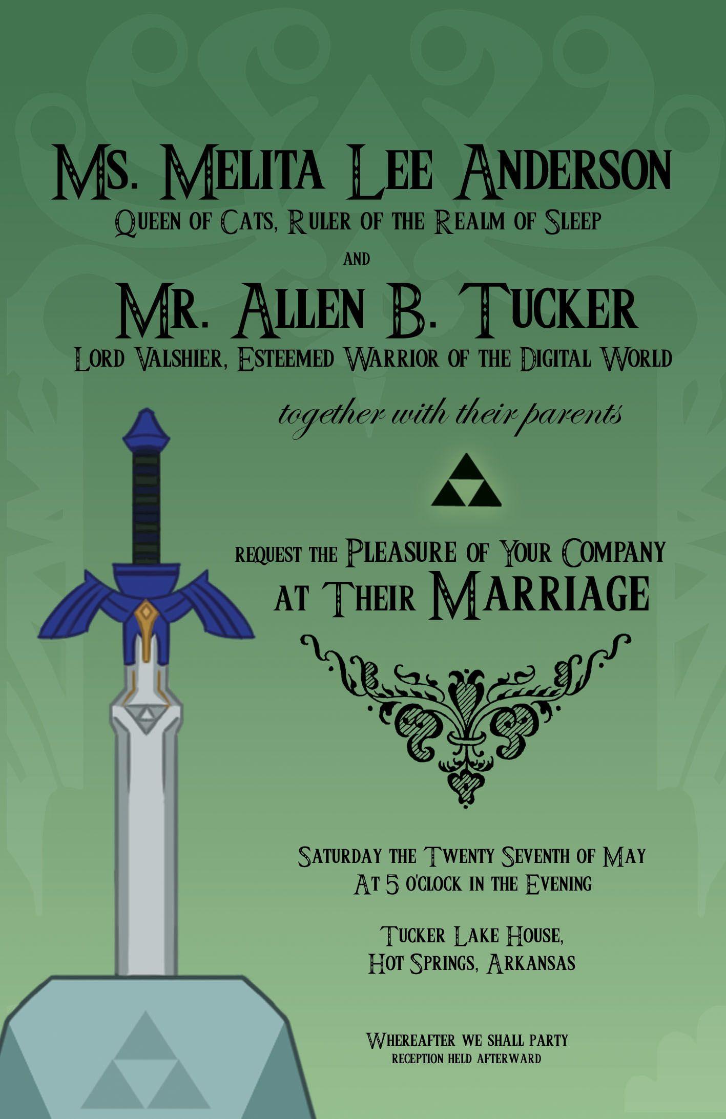 Legend Of Zelda Wedding Invitations Home Free Printable Birthday