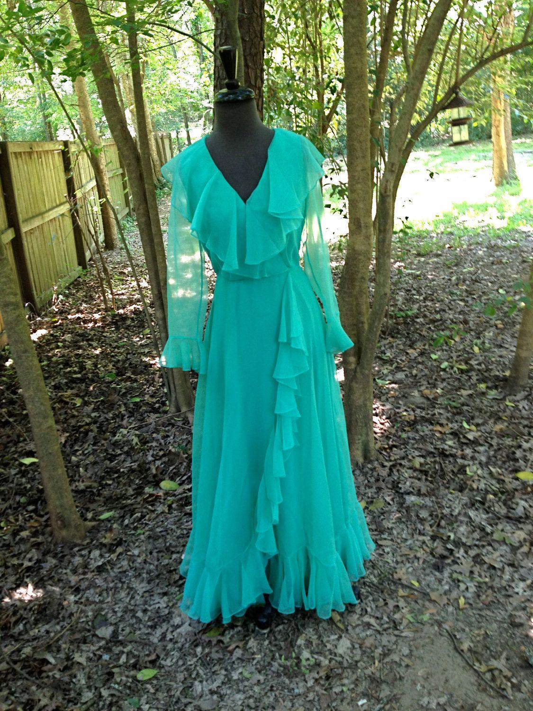 vintage 70s dress - teal green chiffon flowy long dress. $72.00, via ...