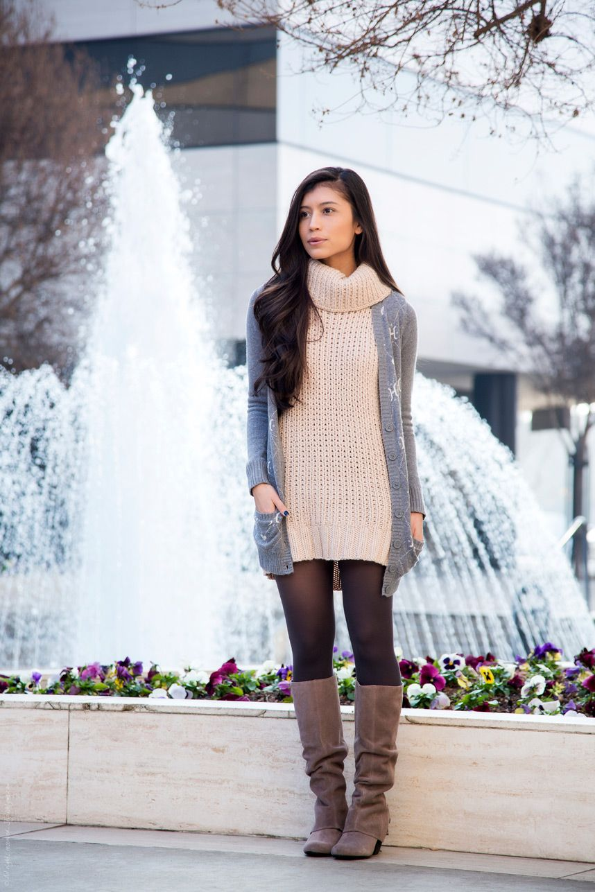 Suede Boots To Wear With Tights Fall Dresses Classy How To Wear Cardigan Black Dress Outfit Casual [ 1287 x 858 Pixel ]