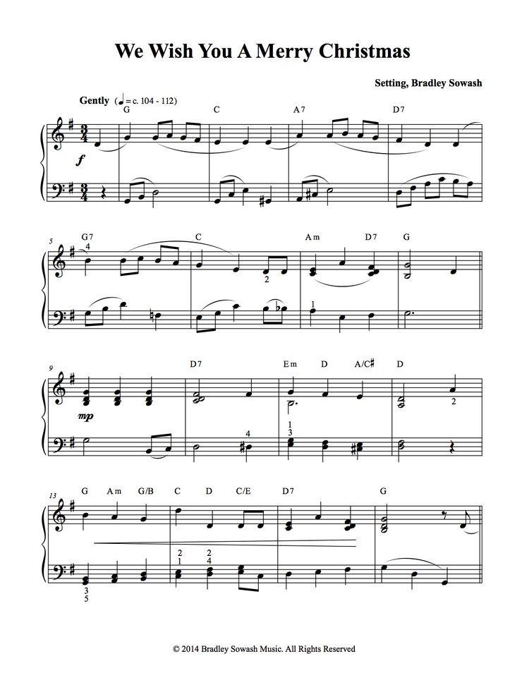 We Wish You A Merry Christmas Pdf Bradley Sowash Music Christmas Piano Christmas Piano Sheet Music Learn Piano