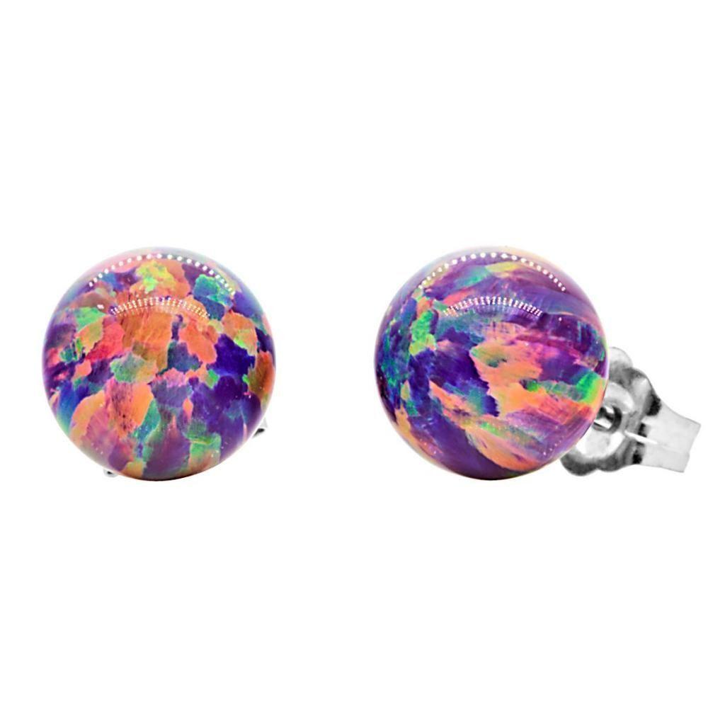 Elizabeth Royal Lavender Synthetic Australian Opal Ball Stud Earrings 14K Gold