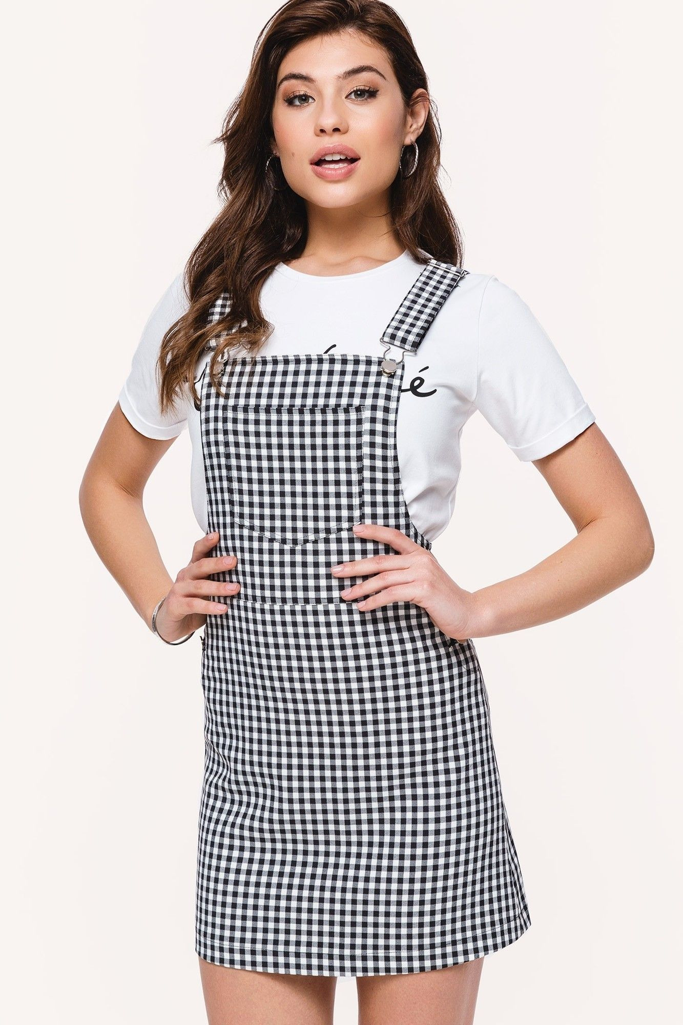 24b6b17a11 Loavies checkered dungaree dress