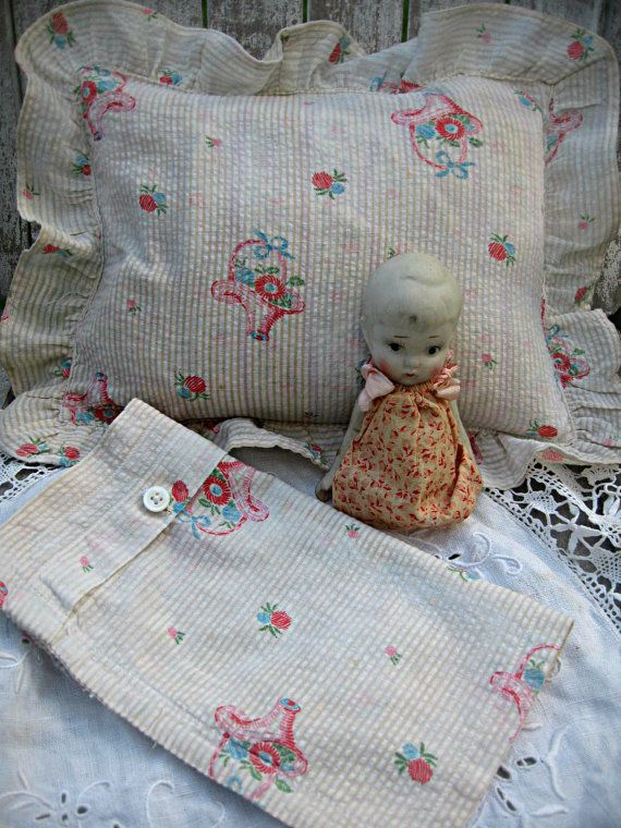 Vintage doll bed linens, pillow cover and sham, darling pattern of baskets and flowers, seersucker doll linens, 1940's pillow covers #bearbedpillowdolls