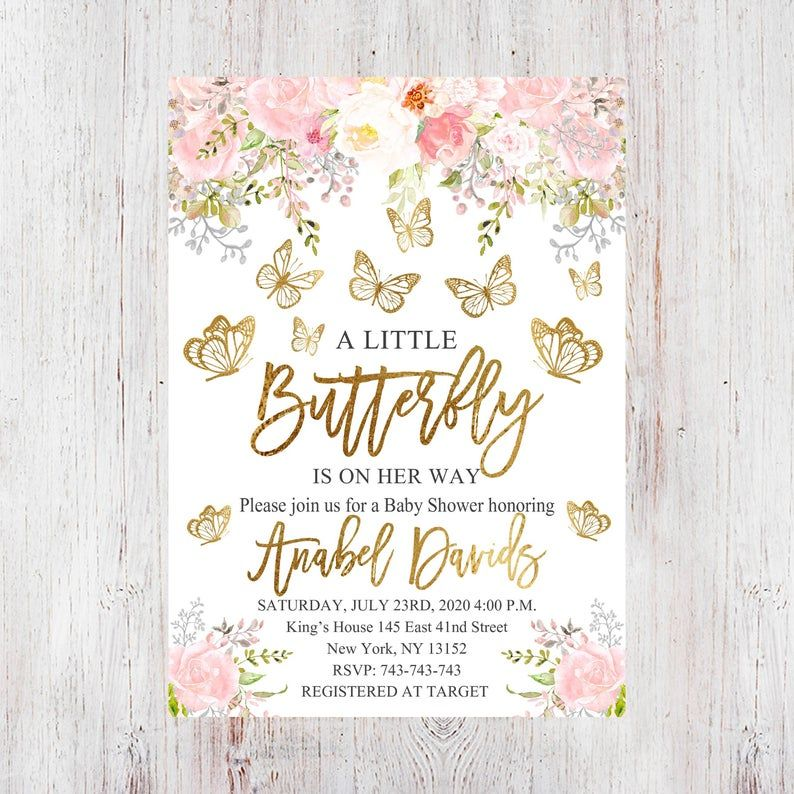 Pink Gold Butterfly Baby shower  or name for birthday party Mini banner Made to match your theme and colors