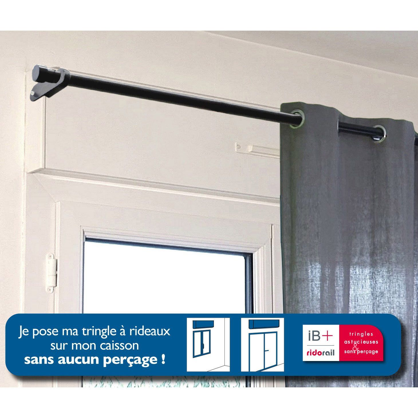 Tringle A Rideau Sans Percer Pour Caisson 2 Supports Sans Percage Colours Quadra Blanc Ø28 Mm Tende Cortinas