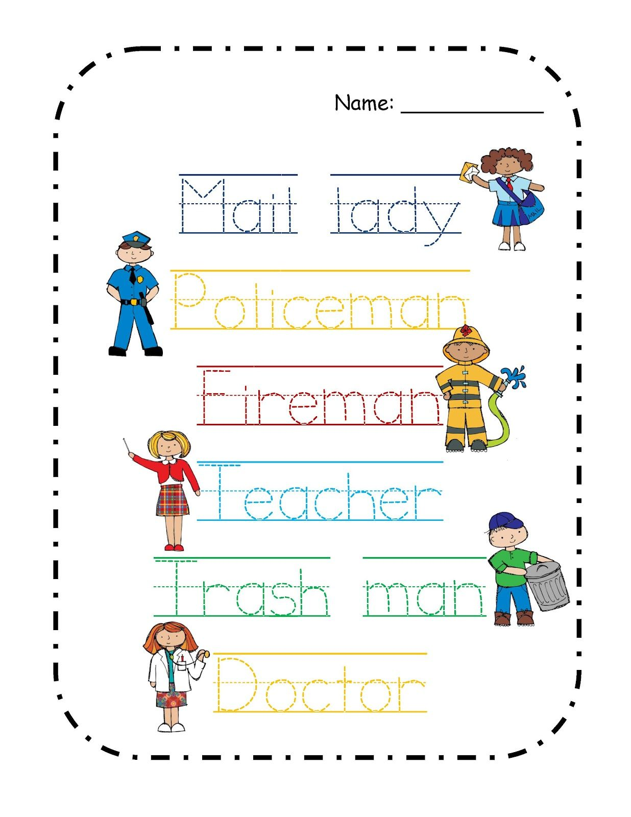Worksheets Community Workers Worksheets preschool printables free community helpers theme theme