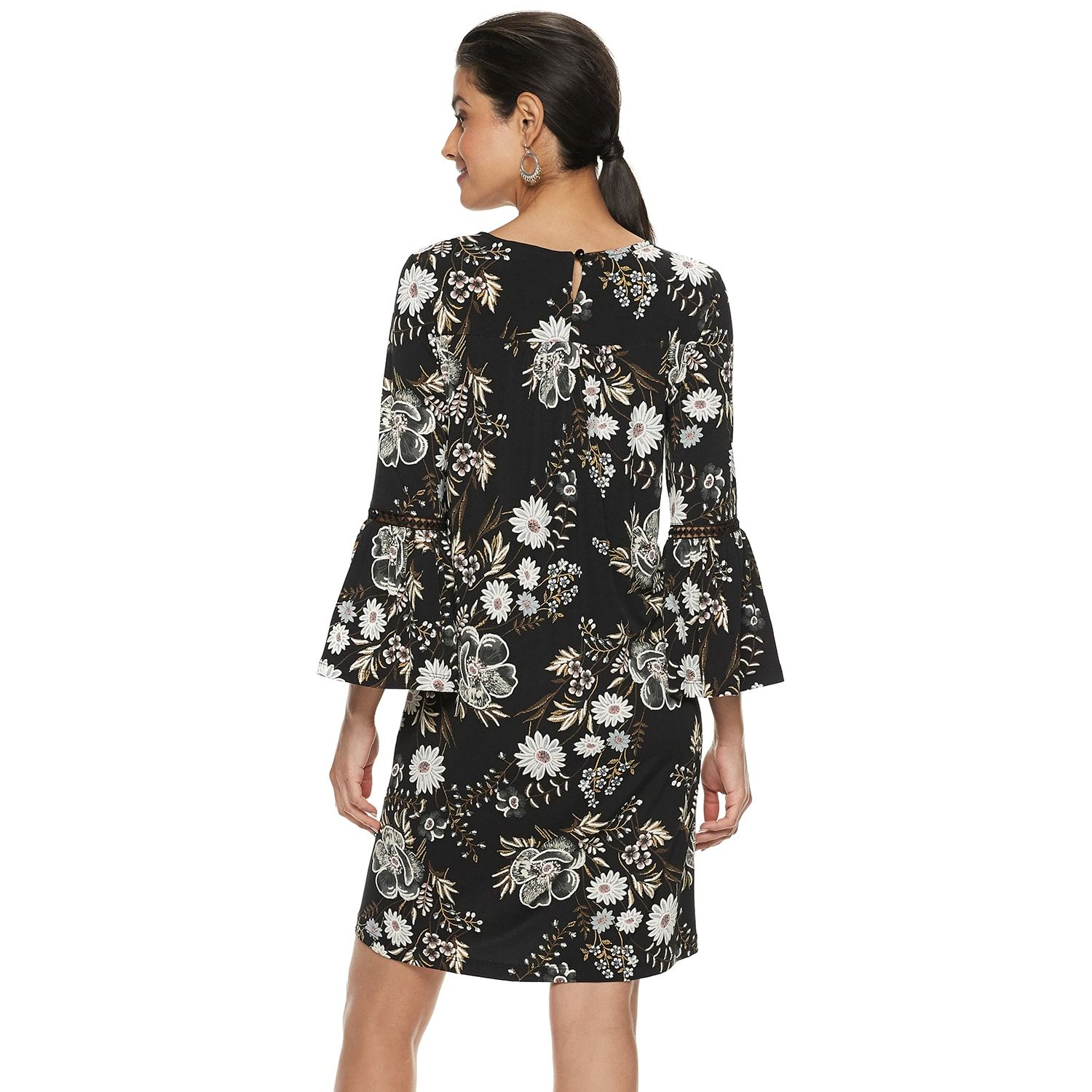 24476c7e25b Women s Nina Leonard Floral Bell-Sleeve Trapeze Dress in 2019 ...