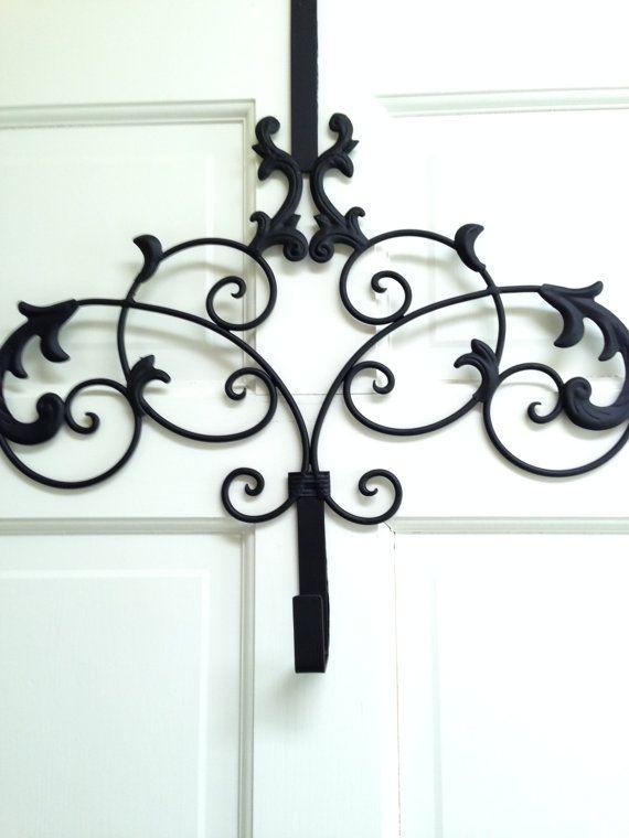 Beautiful Black Wreath Hanger Metal Door Hanger Wreath Hook Etsy Door Wreath Hanger Black Wreath Wreath Hanger