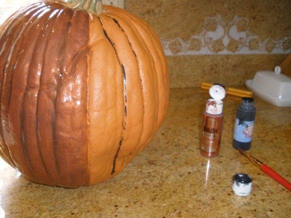 realistic fake pumpkin dollar tree pumpkin and glaze paint - Fake Halloween Pumpkins