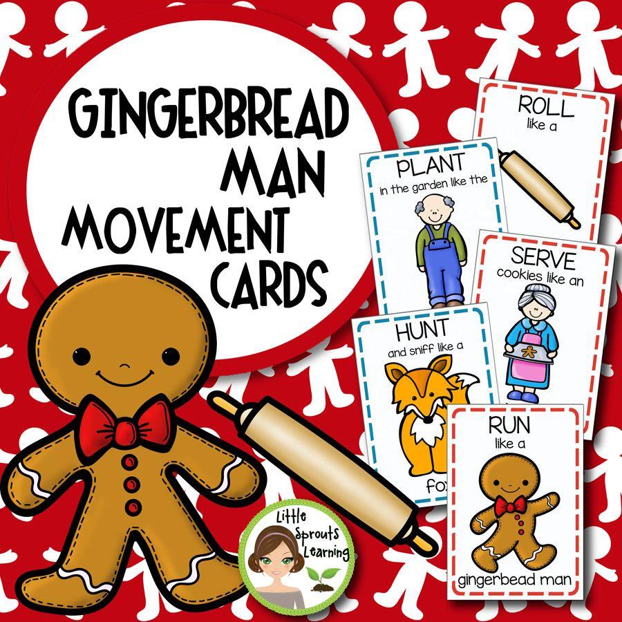 Gingerbread Man Movement Cards Gingerbread Man Activities Gingerbread Activities Gingerbread Man [ 900 x 900 Pixel ]