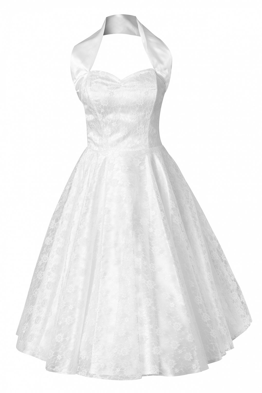 Vivien Of Holloway 50s Retro Halter Luxury White Satin Lace Swing Dress Wedding Dres
