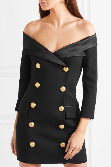 66795a75 Balmain | Black wool and satin Zip fastening at back Fabric1: 100% wool;  fabric2: 52% viscose, 48% acetate; lining: 52% viscose, 48% acetate Dry  clean Made ...