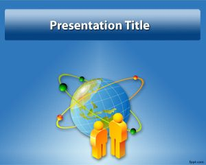Free globe powerpoint template with blue background and characters free globe powerpoint template with blue background and characters in a globe atom effect toneelgroepblik Image collections