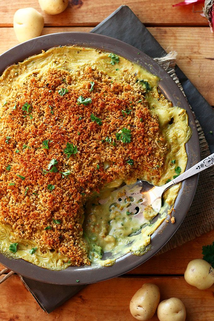 Cheesy Vegan Potato & Broccoli Casserole - ilovevegan.com