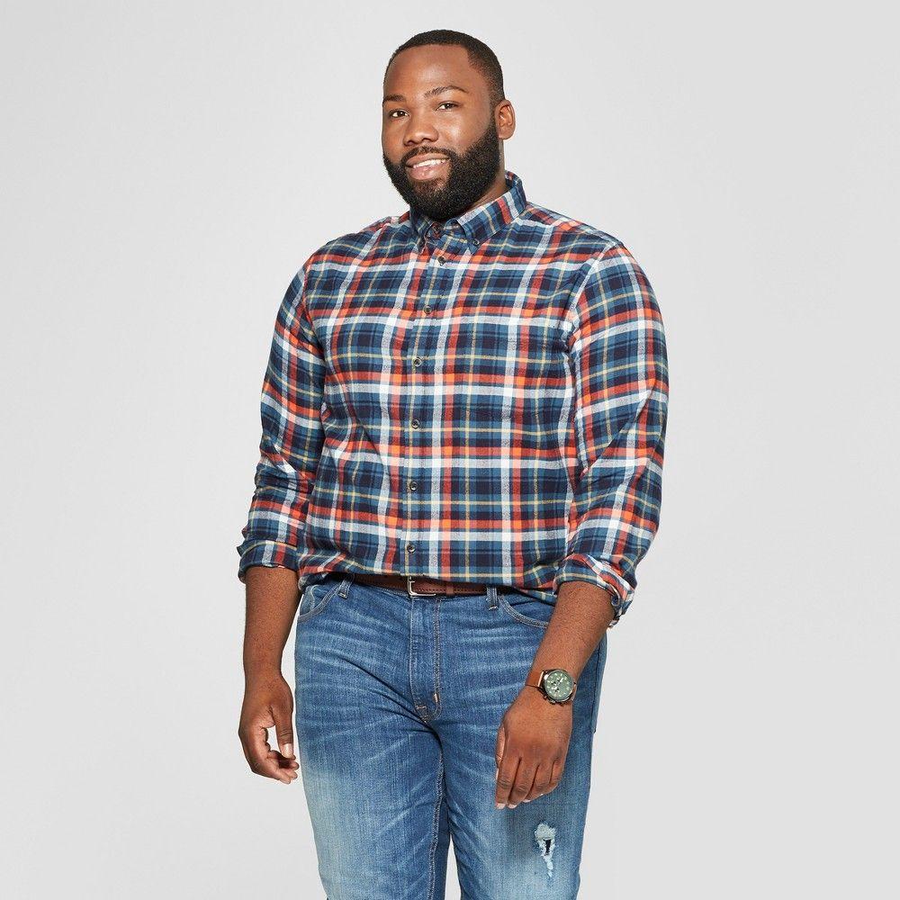 3cad0ed051c1 Men s Big   Tall Plaid Standard Fit Long Sleeve Pocket Flannel Button-Down  Shirt - Goodfellow   Co Underseas Teal 5XB
