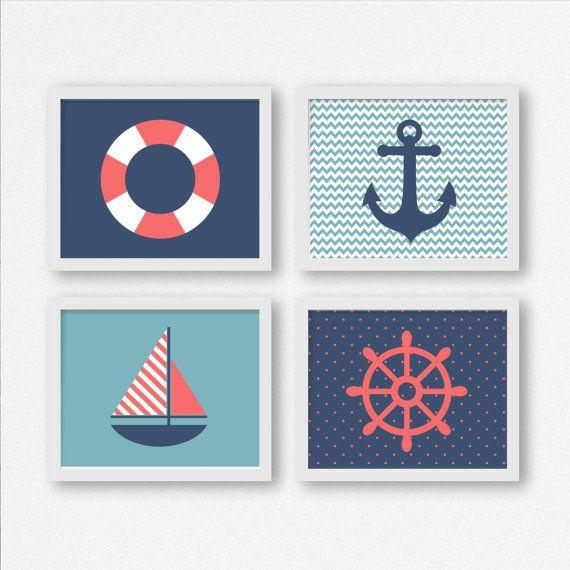 Impresiones de la vela velero rueda ancla y vida ahorro for Decoracion habitacion bebe marinero