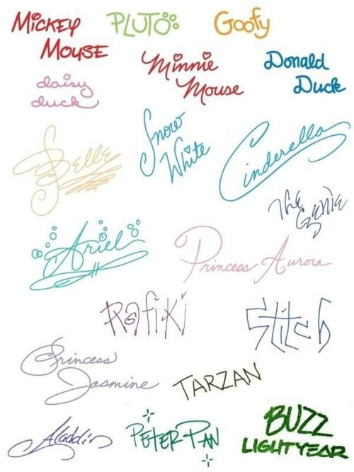 disney signatures they actually have to take a class to learn how to do it perfectly so that all the signatures will match in the kidsmy books