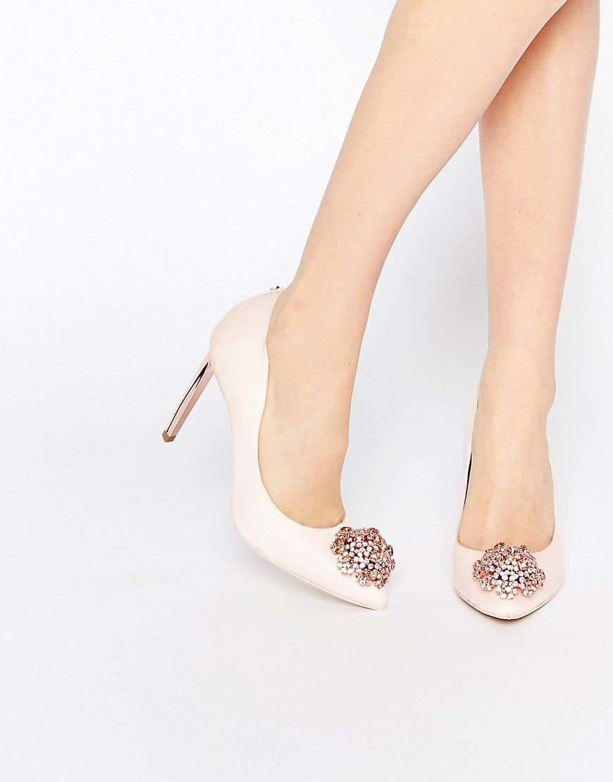 c86e10ad52aea3 TED BAKER PEETCH TIE THE KNOT BRIDAL EMBELLISHED LEATHER PUMPS - PINK.   tedbaker