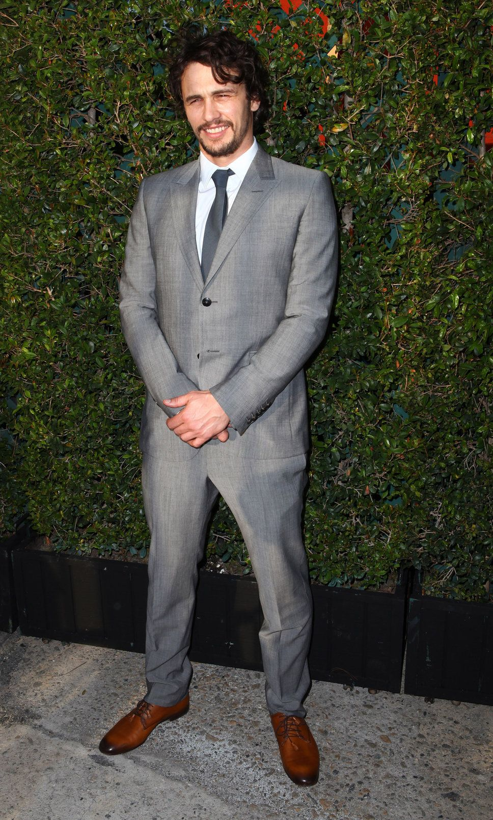 james franco grey suit blue tie handsome smile