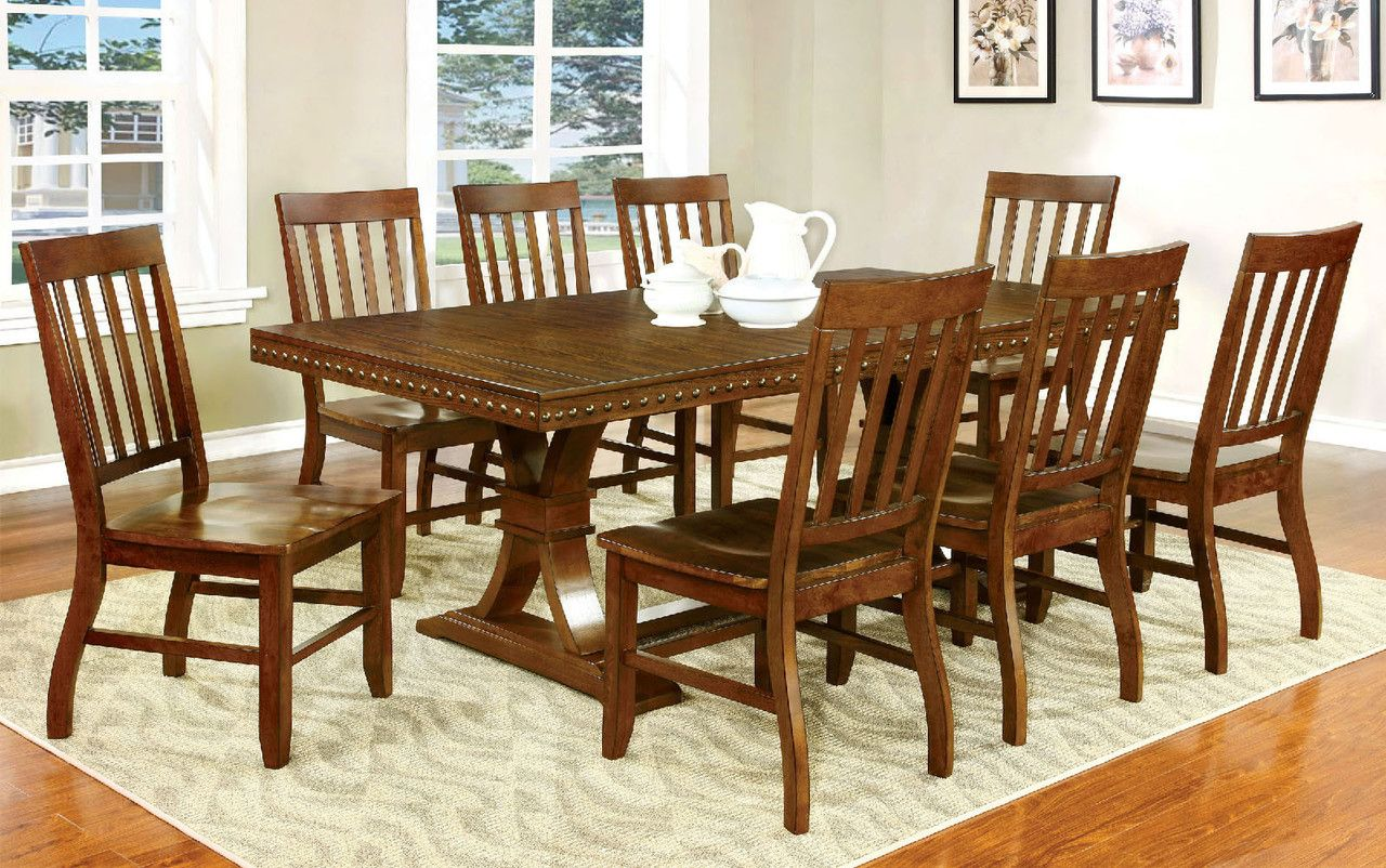 Foster I 9 Pcs Rectangular Table & Chairs Set Cm3437T Amazing 9 Pcs Dining Room Set Design Ideas