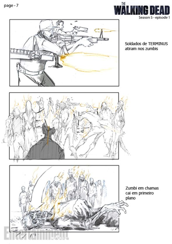 The Walking Dead 5ª Temporada Storyboard da fuga de Terminus - visual storyboard