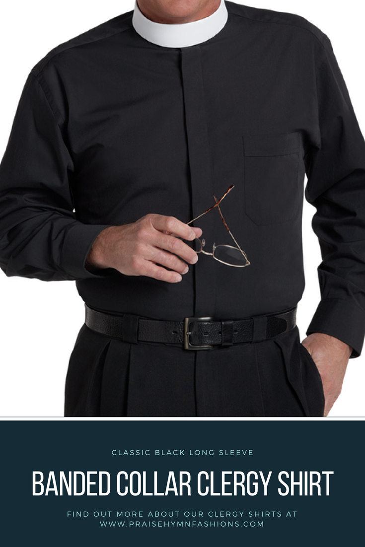 This Long Sleeved Classic Black Banded Clergy Shirt For Men Is The