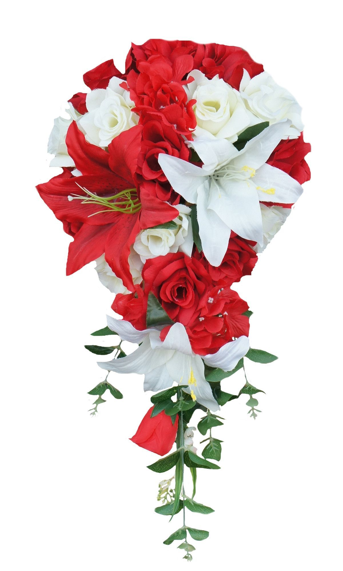 Cascade bouquetRed White artificial roses and lily in Bride