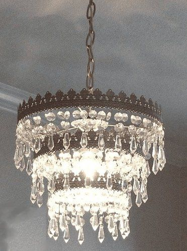 New Ikea Large Rimfrost Crystal 3 Tiered Chandelier Shade Lamp