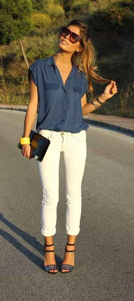 I love this girly work outfit her blue blouse look gorgeous and white skinnies depends with outfit as well