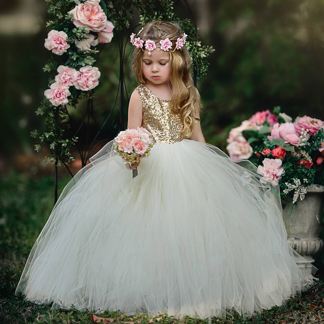 New Gold Sequins Top Ivory Tulle Flower Girl Dresses Puffy Ball