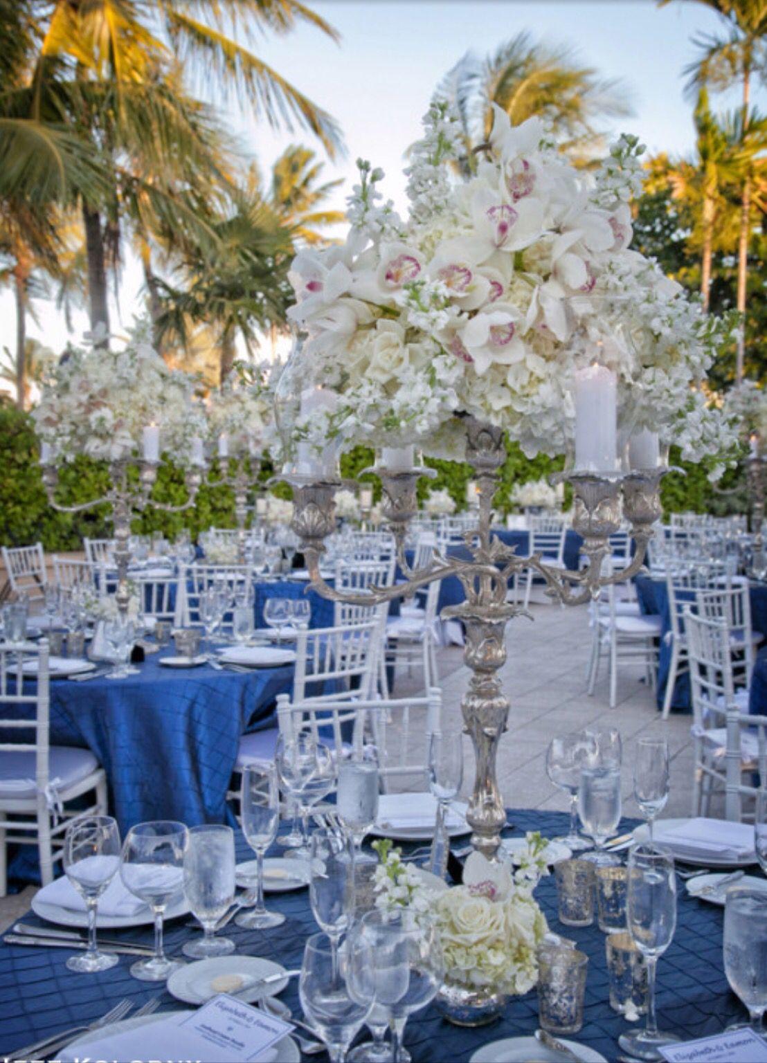 Blue linens | Reception Centerpieces | Pinterest | Reception and ...