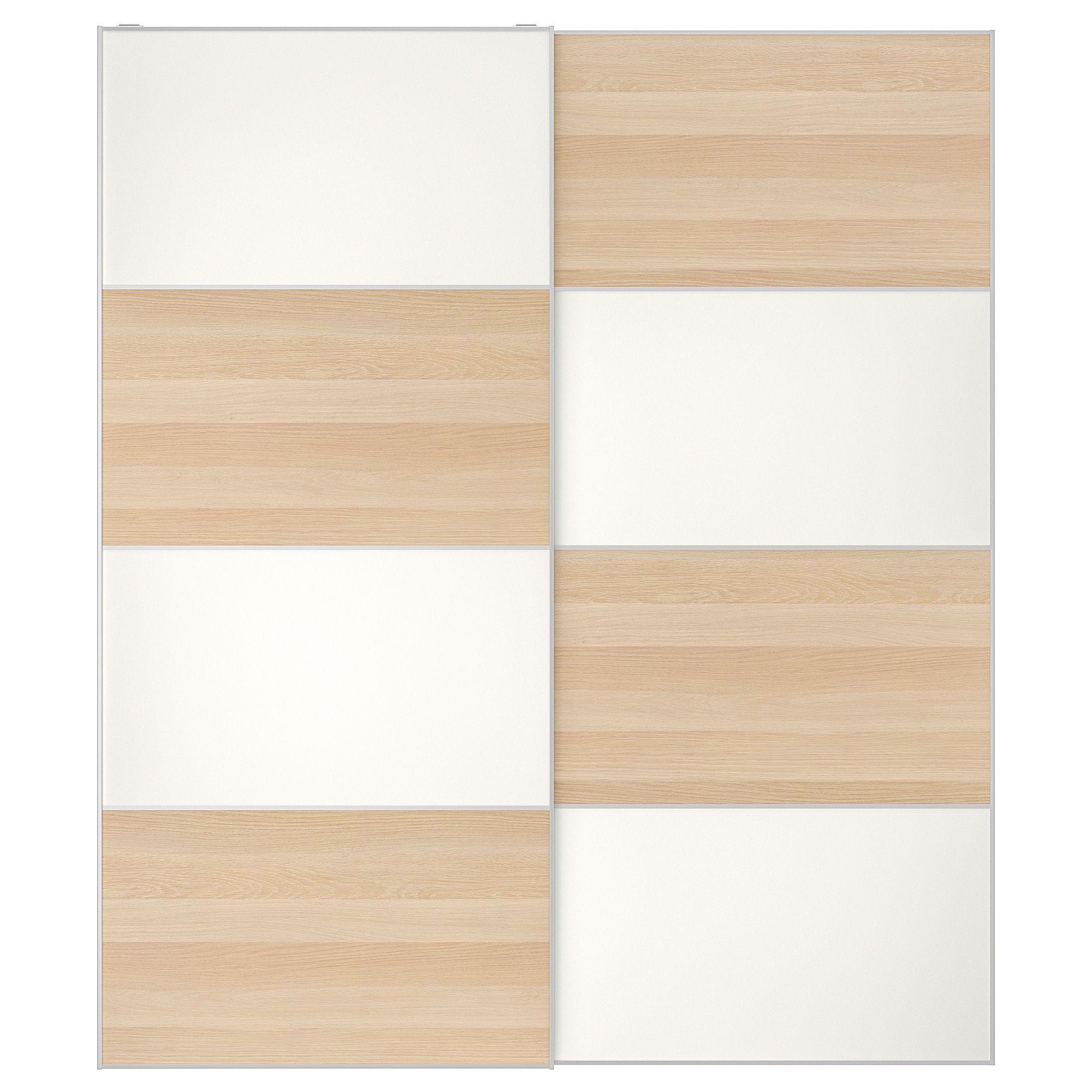 Ikea Mehamn White Stained Oak Effect White Pair Of Sliding Doors Pax System Sliding Doors Ikea