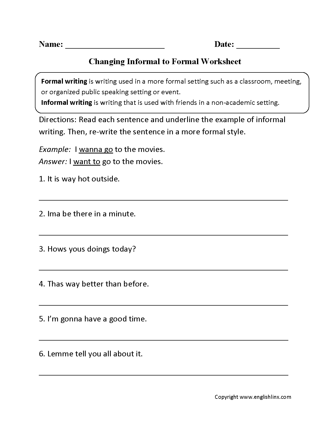Changing Informal To Formal Worksheet